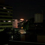 Daimonji in Kyoto. Giant bonfires in the mountains to end Obon festival. More info here. http://en.wikipedia.org/wiki/Gozan_no_Okuribi
