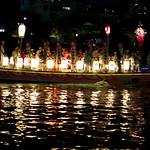Osaka Tenjin Matsuri 2012. These boats filled with drumming and dancing are the main event at this festival.