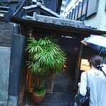Peaking into a restaurant in Kagurazaka.